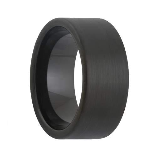 10mm Wide Pipe Cut Satin Black Tungsten Ring