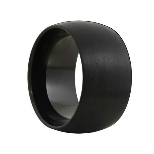 12mm Round Extra Wide Satin Black Tungsten Band