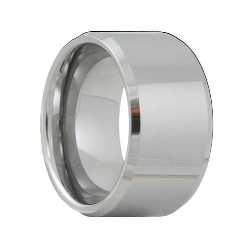 Beveled 12mm Extra Wide Tungsten Ring