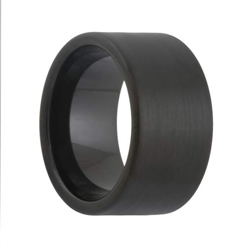 Flat 12mm Extra Wide brushed black tungsten ring