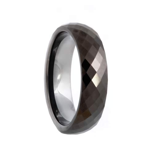 288 Diamond Faceted Black Tungsten Wedding Band