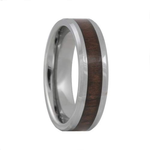 Black Walnut Wood Inlay Tungsten Carbide Ring