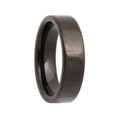 Pipe Cut Black Tungsten Wedding Band (4mm - 12mm)
