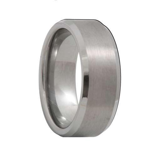 Beveled Matte Finish Tungsten Ring (4mm - 8mm)