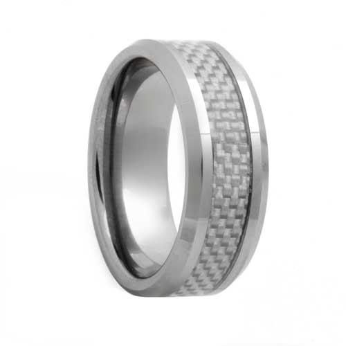 White Carbon Fiber Men's Tungsten Carbide Band