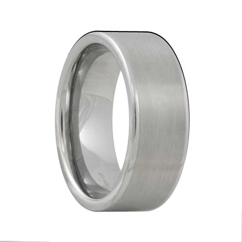 Pipe Cut Satin Mens Tungsten Band Polished Edges