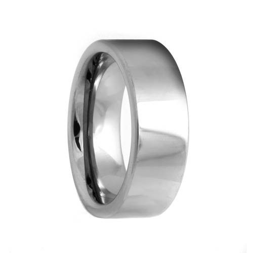 Pipe Cut White Tungsten Carbide Ring (4mm - 8mm)