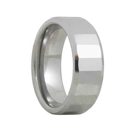 Mens Tungsten Carbide Ring Rectangular Facets