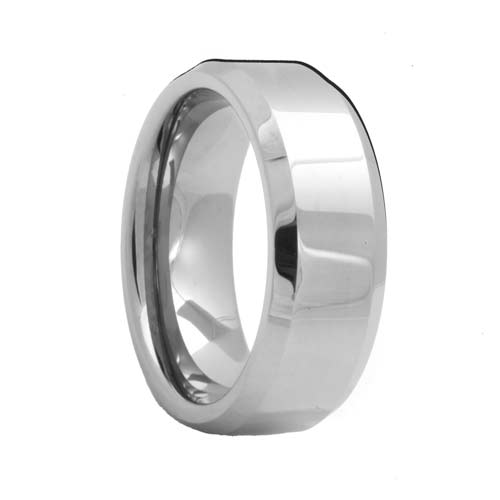 Beveled White Tungsten Jewelry Ring (4mm - 8mm)