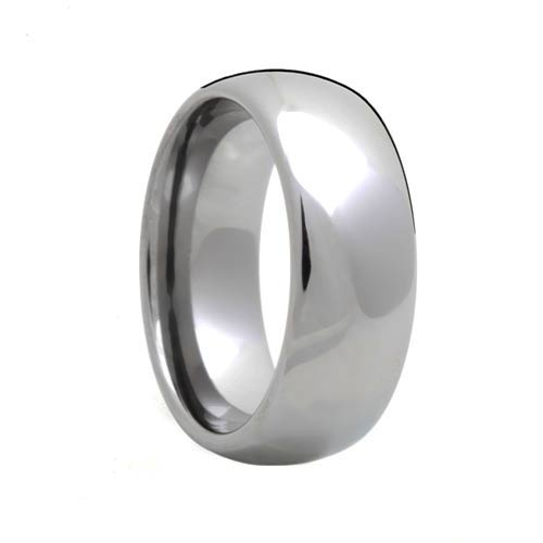Domed Polished Mens Tungsten Carbide Wedding Band
