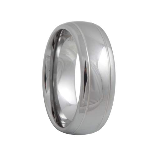 White Tungsten 2 Groove High Polish Ring (6mm - 8mm)