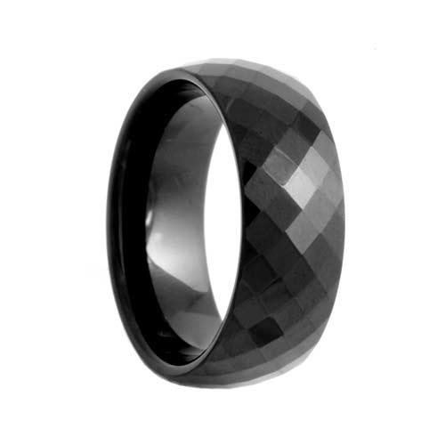 Diamond Facets Black Tungsten Wedding Band (6mm - 8mm)