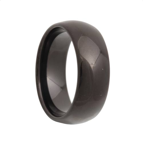 Rounded Black Tungsten Wedding Band