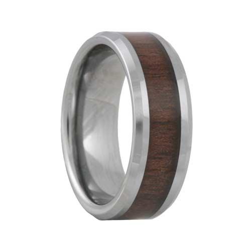 Tungsten Black Walnut Wood Inlay Ring (6mm - 8mm)