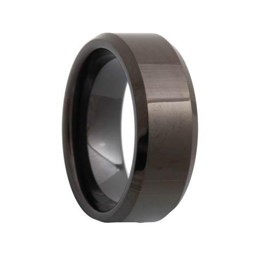Beveled Black Tungsten Ring (6mm - 12mm)