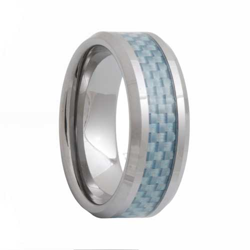 Blue Carbon Fiber Mens Tungsten Carbide Ring