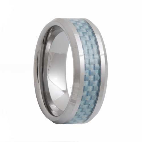 Blue Carbon Fiber Mens Tungsten Carbide Ring