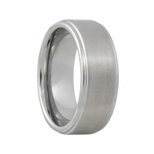 Satin Raised Mens Tungsten Wedding Ring