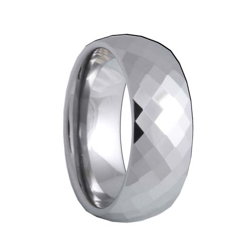 Diamond Faceted Mens Tungsten Band (4mm - 8mm)