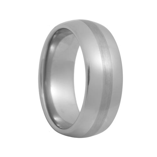 Brushed Stripe Rounded Mens Tungsten Wedding Band