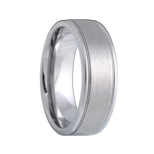 Matte Grooved Tungsten Carbide Wedding Band
