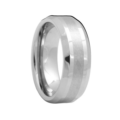 Beveled Mens Tungsten Ring with Brush Stripe
