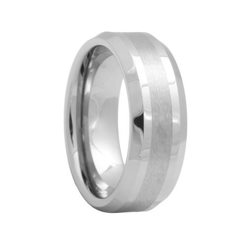 Beveled Mens Tungsten Ring with Brush Stripe