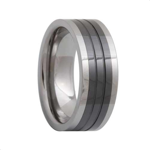 Pipe Cut Ceramic Inlay 2 Tone Tungsten Band Grooved