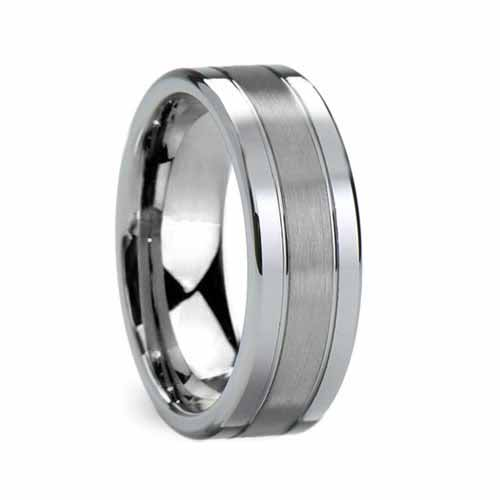 Flat Grooved Brushed Center Tungsten Wedding Band