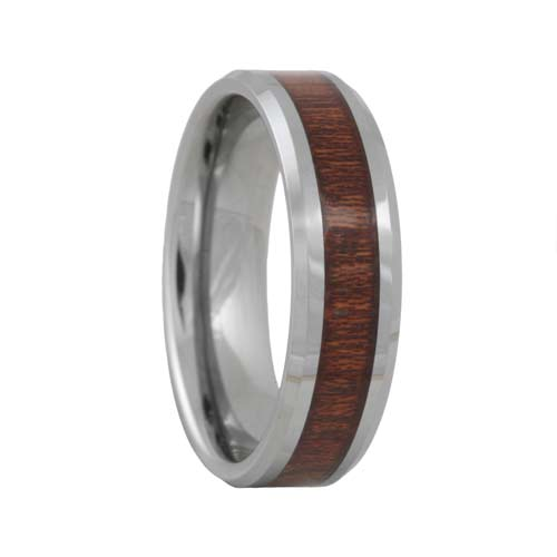 Rose Wood Inlaid Tungsten Carbide Wedding Ring