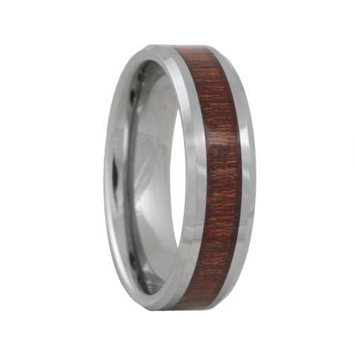 Rose Wood Inlaid Tungsten Carbide Wedding Ring