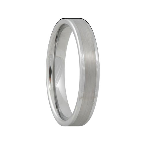 Brushed Flat Tungsten Band with Polished Edges