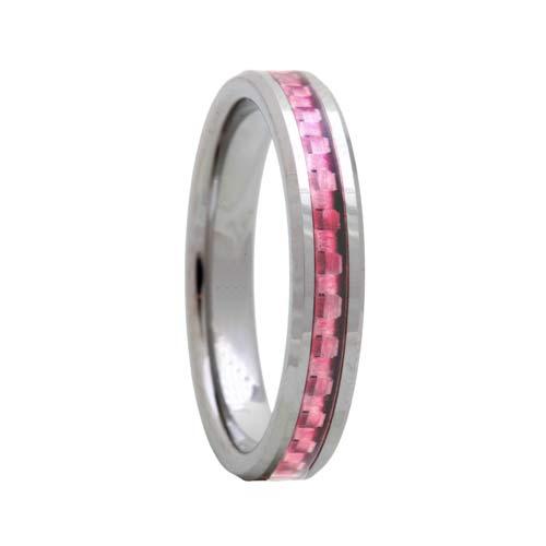 Pink Carbon Fiber 4mm Tungsten Carbide Wedding Ring