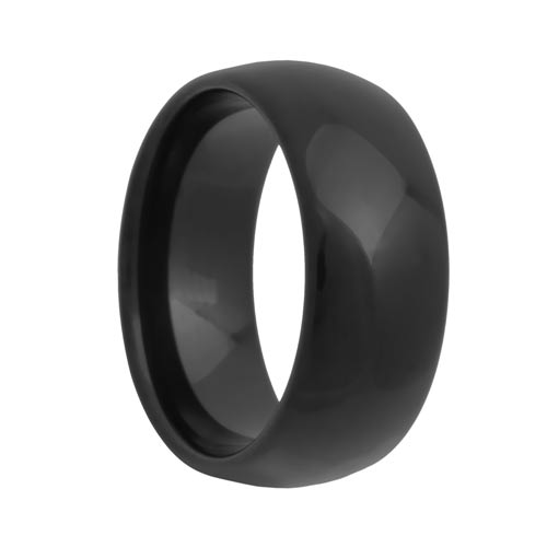 Rounded 10mm Wide Black Tungsten Wedding Band