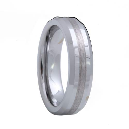 Beveled Tungsten Ring with a Satin Stripe