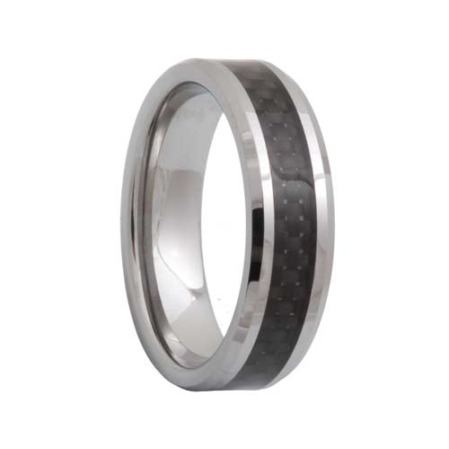 Black Carbon Fiber Tungsten Wedding Ring