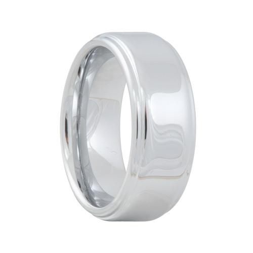 White Tungsten Raised High Polish Ring (6mm - 8mm)