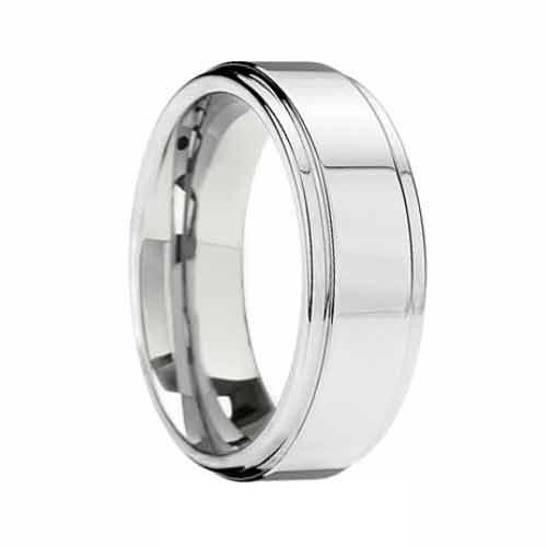 Polished Raised Tungsten Carbide Band