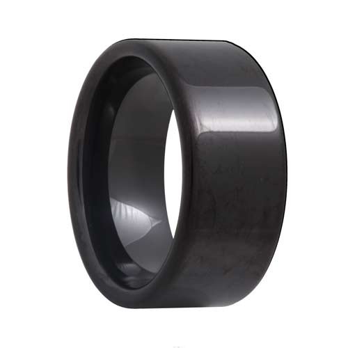 Pipe Cut 10mm Wide Black Tungsten Wedding Band