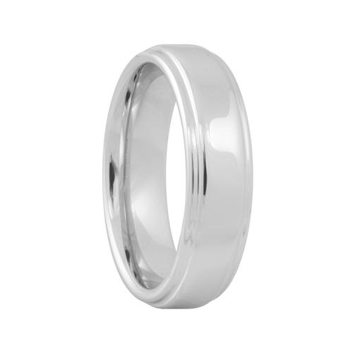 Step Edge High Polish Unique Tungsten Wedding Ring