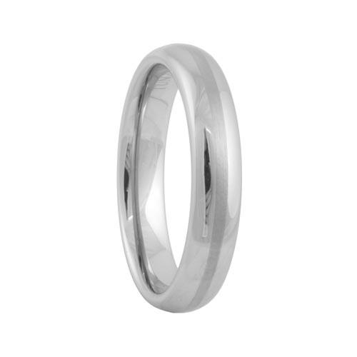 Round Brushed Stripe Tungsten Engagement Wedding Band