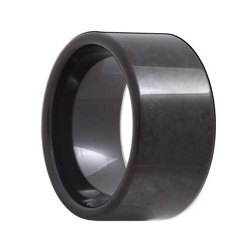 Pipe Cut 12mm Extra Wide Black Tungsten Ring