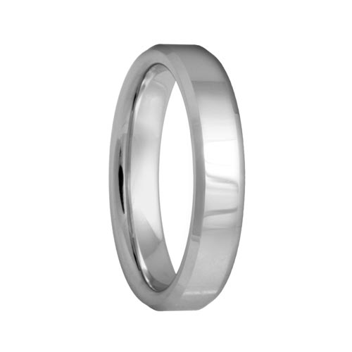 Polished Beveled Scratch Resistant Tungsten Ring
