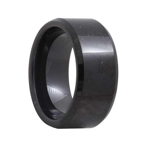 Beveled 10mm Wide Black Tungsten Carbide Ring