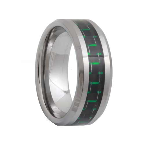 Black Green Carbon Fiber Tungsten Wedding Ring
