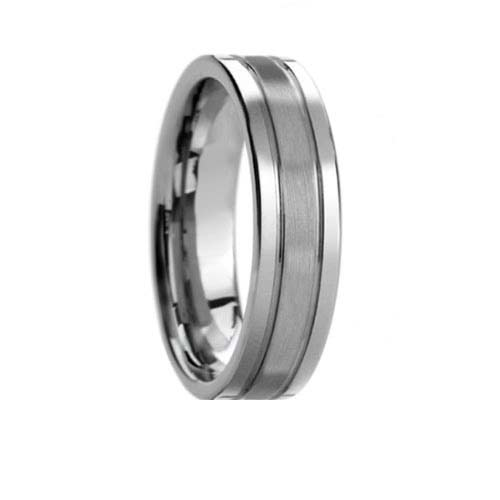 Pipe Cut 2 Groove Satin Center Polish Edge Tungsten Band