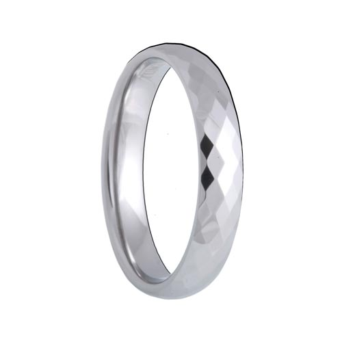 4mm Diamond Faceted White Tungsten Carbide Wedding Band