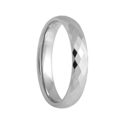 4mm Diamond Faceted White Tungsten Carbide Wedding Band