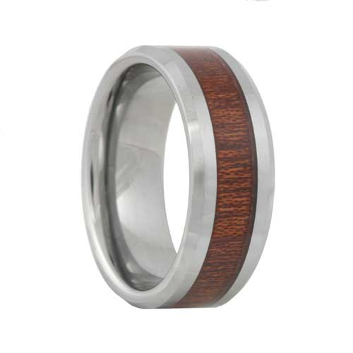 Mens Tungsten Wedding Band With Rosewood Inlay