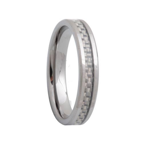White Carbon Fiber Women's Tungsten Carbide Band